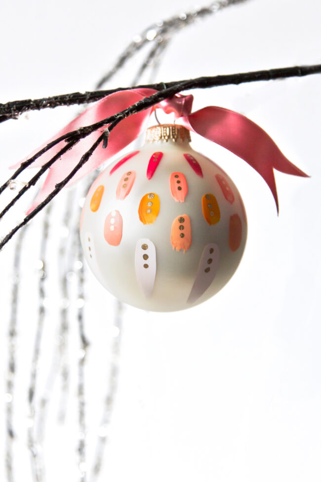beautiful pink hand painted christmas ornament for christmas trees
