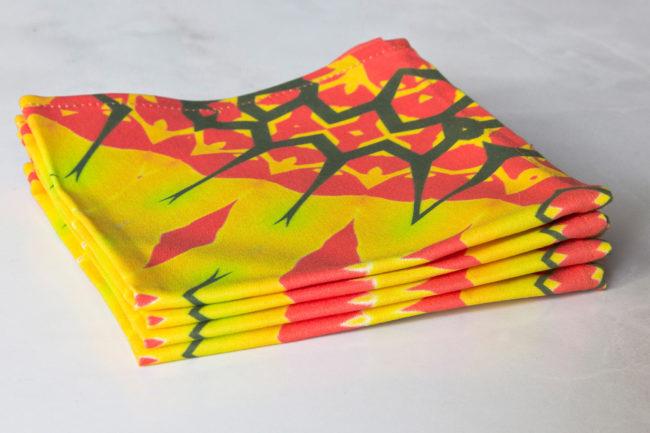 yellow diamond fabric cocktail napkin set stacked