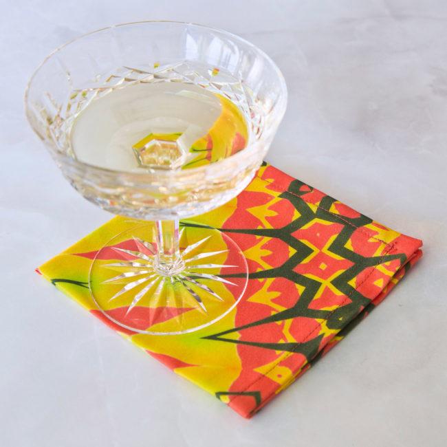 festive yellow diamond fabric cocktail napkin set