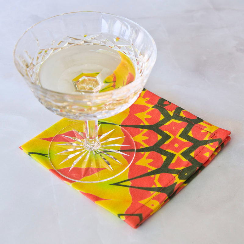 festive yellow diamond fabric cocktail napkin set