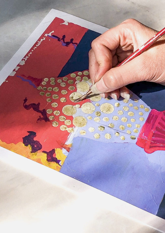 mystery light hand embellished print detail