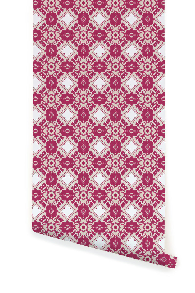 A roll of Pearl & Maude's Alexandria medallion prepasted wallpaper in berry magenta, cream and white
