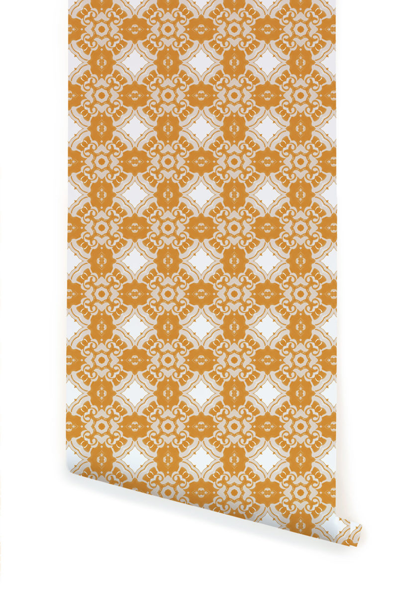 A roll of Pearl & Maude's Alexandria medallion prepasted wallpaper in daisy yellow, cream and white