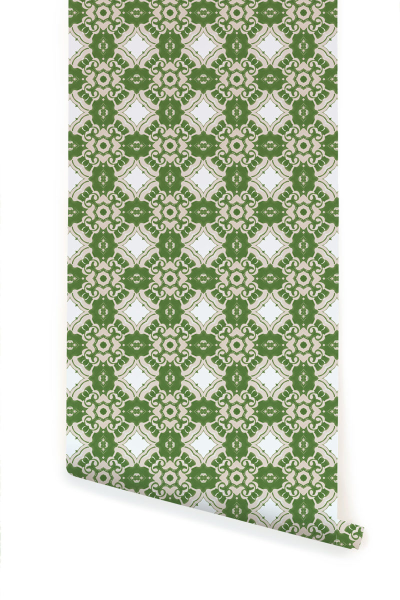 A roll of Pearl & Maude's Alexandria medallion prepasted wallpaper in moss green, cream and white