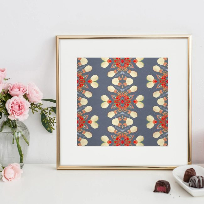 Arabella is a square, grey and red art print of shimmering, dancing stripes. Look closely and you'll notice urban street lights dancing in her design.