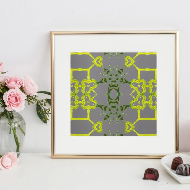 Arachne is a square, grey and citron art print of playful trellis patterns.