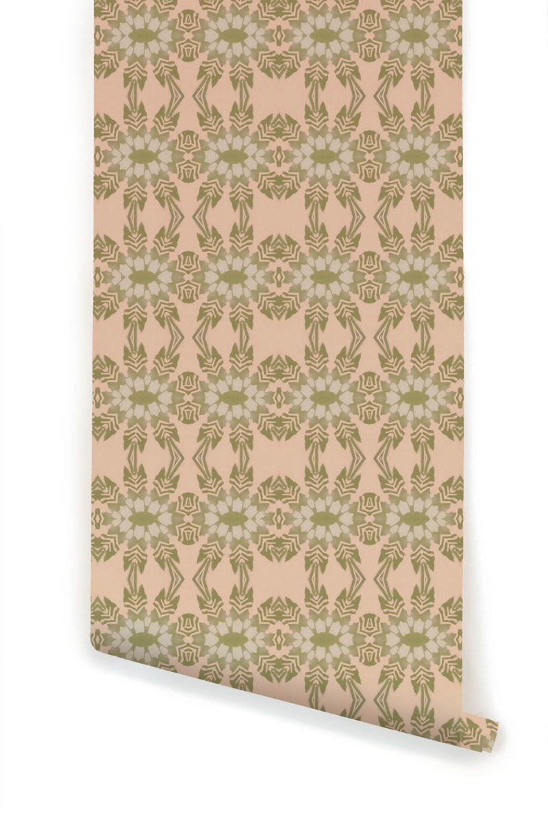 A roll of Pearl & Maude's tropical botanical Artemis prepasted wallpaper in light clay pink and moss green