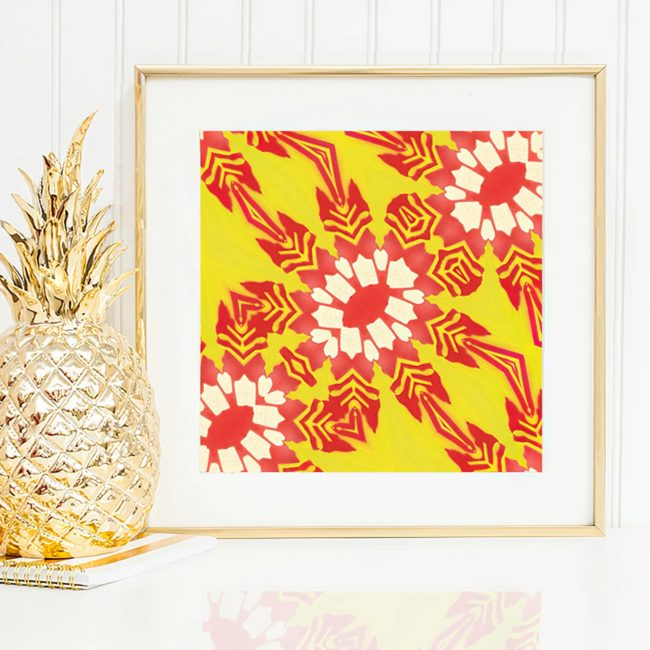 Artemis is a square, yellow and red colored floral art print. The design was inspired by combining tropical botanical design with the feathered arrows of the goddess of wild animals and vegetation.
