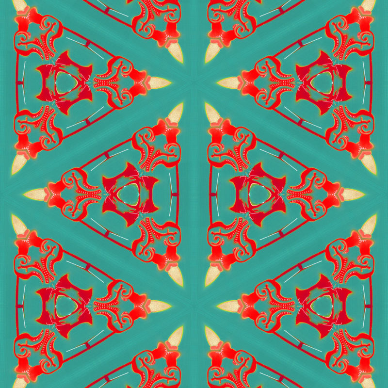 Bunsen is a square, turquoise, and coral colored geometric art print. The design was inspired by combining ornate classical design with a contemporary, minimalist repeat.