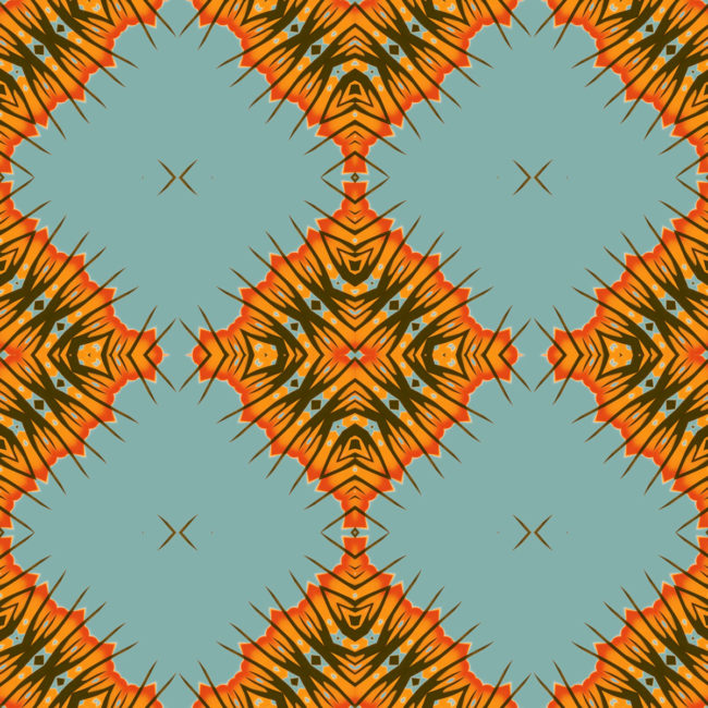Desert Diamonds is a square, blue, orange and olive green colored art print. The design was inspired by beautiful, dusty and harsh environment of the Mojave Desert.