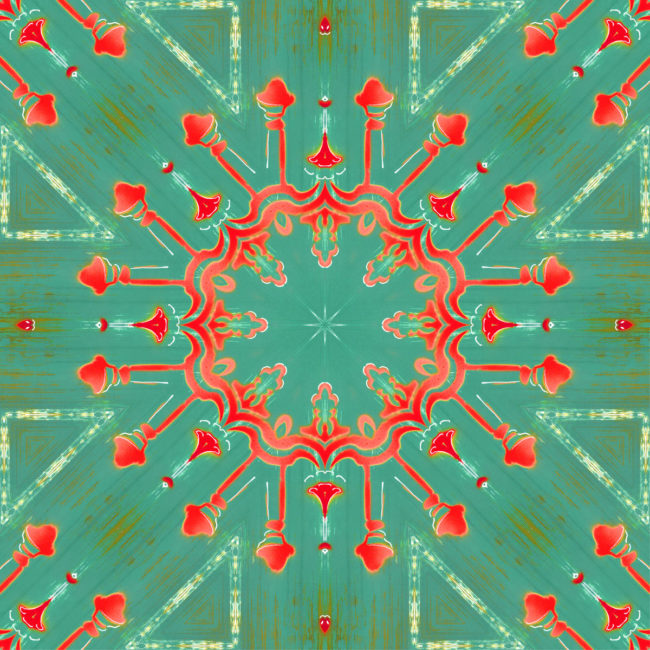 Elton is a square, turquoise and coral colored art print. The design was inspired by a painting of a beautiful old streetlight downtown. The result is a flashy, joyful, celebratory, starburst medallion design.