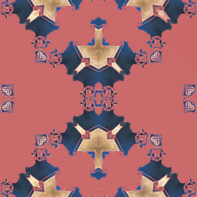 Eva is a square, navy blue and pink art print. The design was inspired by Art Deco architecture.