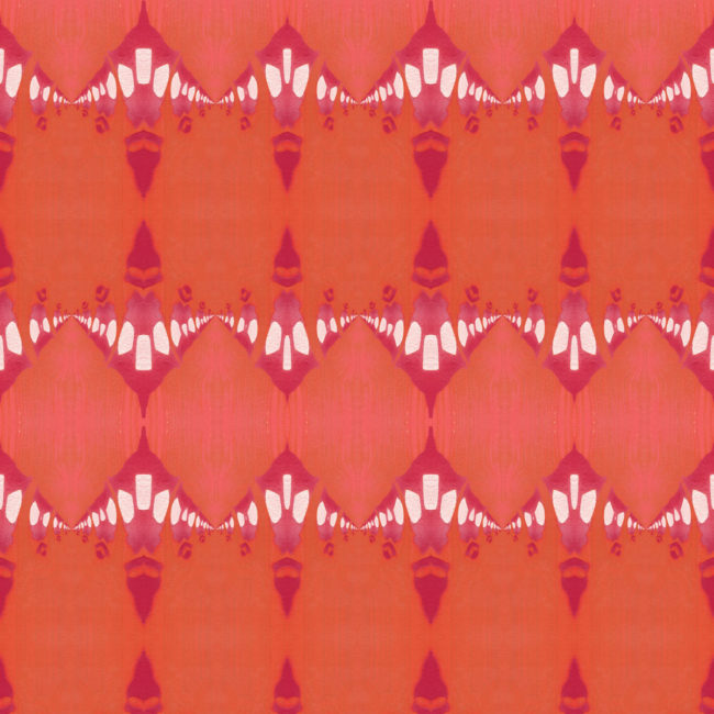 A coral, pink and orange art print of architectural details.