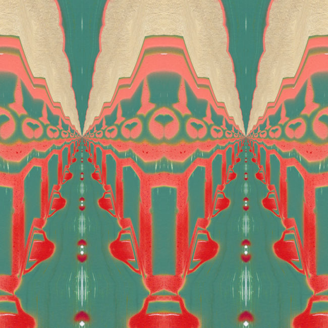 A coral red, peach and turquoise art print reminiscent of Art Nouveau and tribal designs.