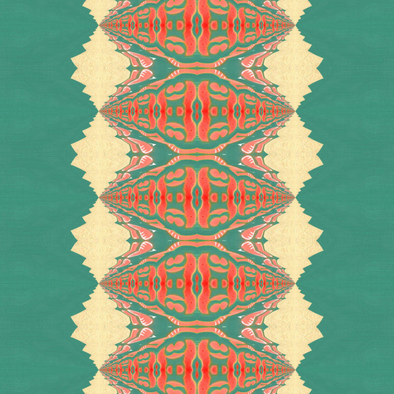 A coral, peach and turquoise art print in a psychedelic stripe.