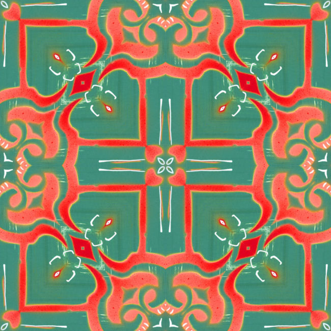 A coral red, peach and turquoise art print reminiscent of Mediterranean tile patterns.