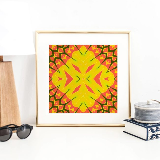 Yellow Diamonds is a square, lemon, orange and coral colored art print. The design was inspired by beautiful, dusty and harsh environment of the Mojave Desert.